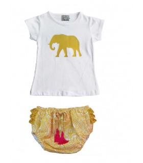 MON PETIT BONBON BABY GIRL SET ELEPHANT