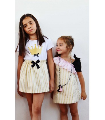 MON PETIT BONBON GOLDEN STRIPES GIRL DRESS