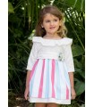 PILAR BATANERO CORAL STRIPES GIRLS DRESS
