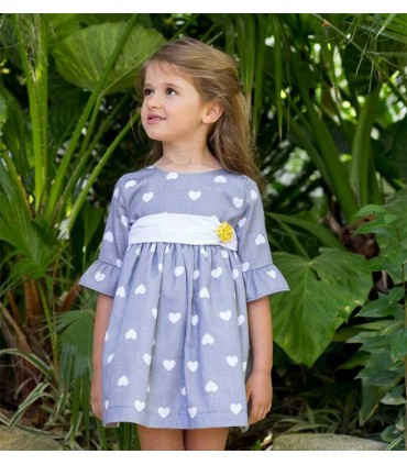 PILAR BATANERO HEARTS GREY GIRLS DRESS