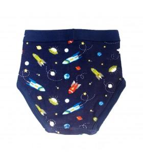 Calzoncillo niño espacio en azul marino