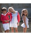 ANCAR GIRLS ROMPER PINK AND BLUE STRIPES