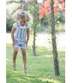 ANCAR GIRLS SET WITH BLUE STRIPES OVERALLS