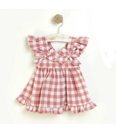 JOSE VARON GIRLS RED CHECKED DRESS