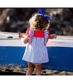 KIDS CHOCOLATE BABY GIRL STRIPES DRESS