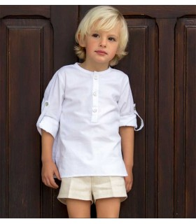 CAMISA BABY BASIC BLANCA KIDS CHOCOLATE