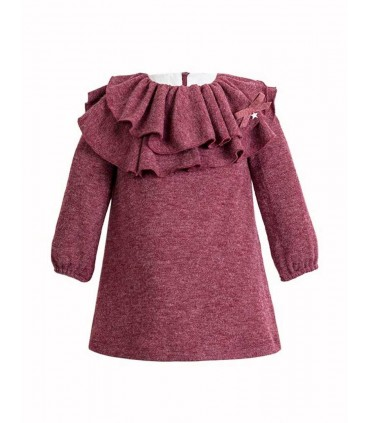 EVE CHILDREN GIRLS DARK RED KNITTED DRESS DOTS