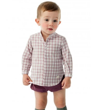 COCOTE BOY DARK RED CHECKED SET