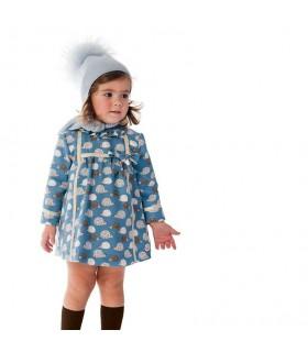JOSE VARON BABY GIRL BLUE DRESS HEDGEHOGS