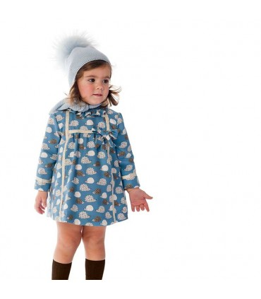 JOSE VARON BABY GIRL BLUE DRESS HEDGEHOGS