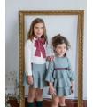 ROCHY GIRLS GREEN CHECKED DRESS WITH MADARIN COLLAR