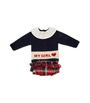ROCHY BABY GIRL NAVY BLUE AND RED SET: