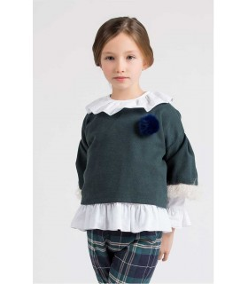 CHEMISE PETITE FILLE BLANC OXFORD KIDS CHOCOLATE