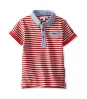 French Connection red stripes boys polo