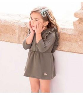 VESTIDO NIÑA VERDE VOLANTES FOREST EVE CHILDREN