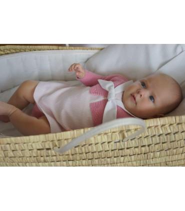 Conjunto 3 piezas vestido-faldon en rosa bebe niña