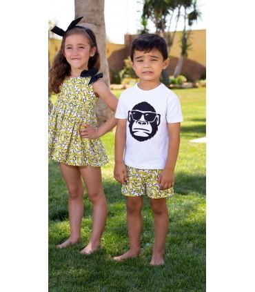 MON PETIT BONBON GIRLS DRESS BANANAS