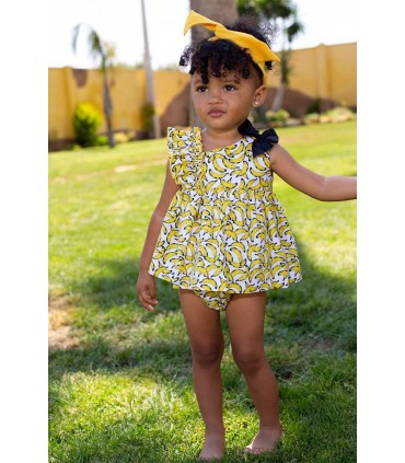 MON PETIT BONBON BABY GIRLS DRESS BANANAS