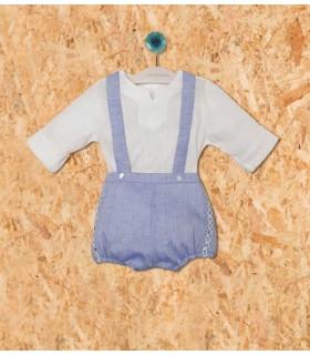 PILAR BATANERO BABY BOY WHITE AND LIGHT BLUE SET