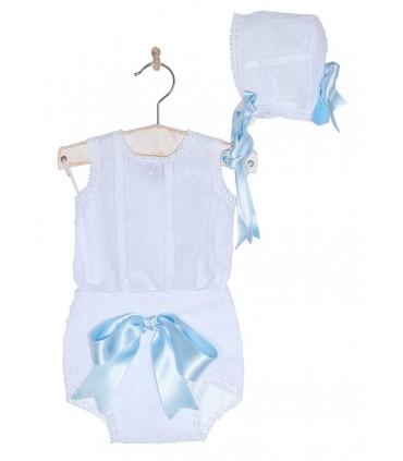 JOSE VARON BABY GIRLS WHITE AND LIGHT BLUE 3 PIECES SET