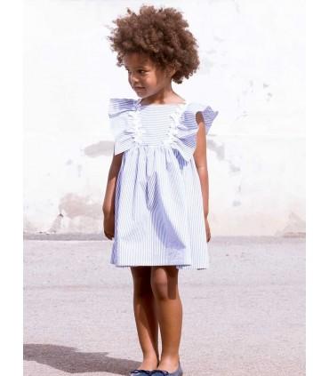 FINA EJERIQUE GIRLS BLUE STRIPES DRESS
