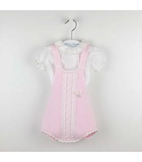 MARTIN ARANDA BABY GIRLS PINK OVERALLS SET