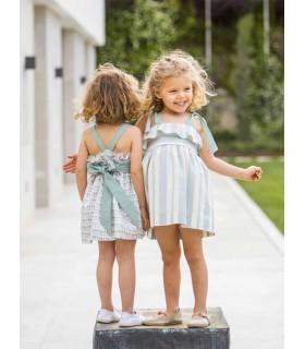 ANCAR GIRLS GREEN STRIPES DRESS