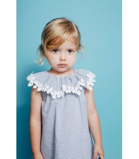 FINA EJERIQUE BABY GIRLS BLUE STRIPES DRESS AND CULOTTE