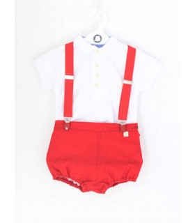 PILAR BATANERO BABY RED SET WHITE POLO