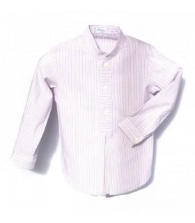 Camisa niño cuello Mao manga larga burdeos de Ancar