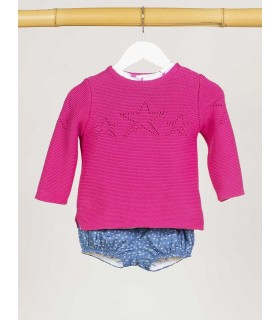 KIDS CHOCOLATE UNISEX PINK STARS SWEATER