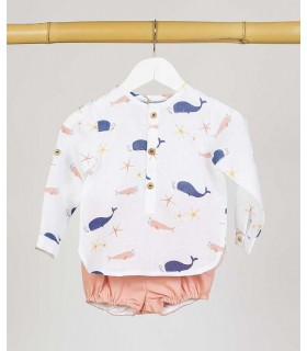 CAMISA BABY BALLENAS KIDS CHOCOLATE