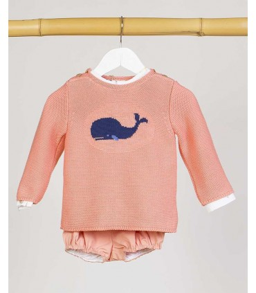 KIDS CHOCOLATE BABY BOYS WHALES SWEATER