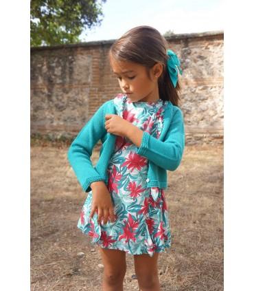 Gilet tricotée petite fille en vert Ancar