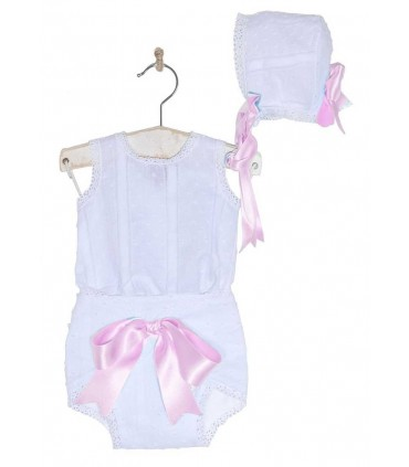 ENSEMBLE BEBE FILLE BLANC ET ROSE JOSE VARON