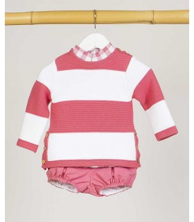 KIDS CHOCOLATE BOYS WHITE AND PINK SWEATER