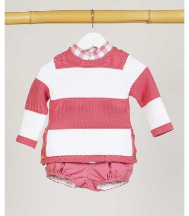 KIDS CHOCOLATE BABY BOYS WHITE AND PINK SWEATER