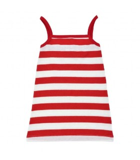 Red stripes toddler girl dress 100% organic cotton Under The Nile