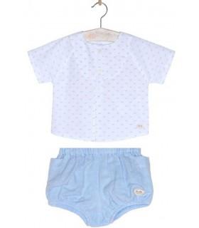 JOSE VARON BABY BOYS WHITE AND BLUE SET