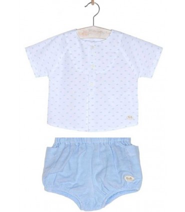JOSE VARON BABY BOYS WHITE AND BLUE SET