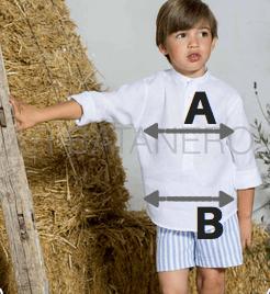 guia de tallas conjunto niño