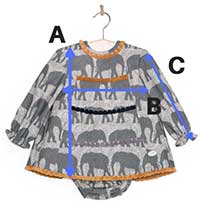 vestido bebe niña elefantes